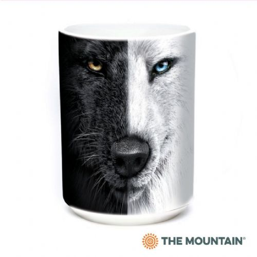 Black & White Wolf Face Ceramic Mug | The Mountain®